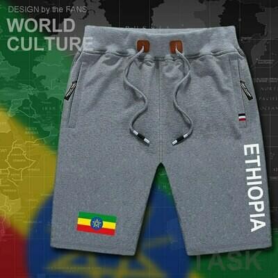 Board Shorts Ethiopian Sweat-Bodybuilding Zipper-Pocket Workout Men's Beach New Flag