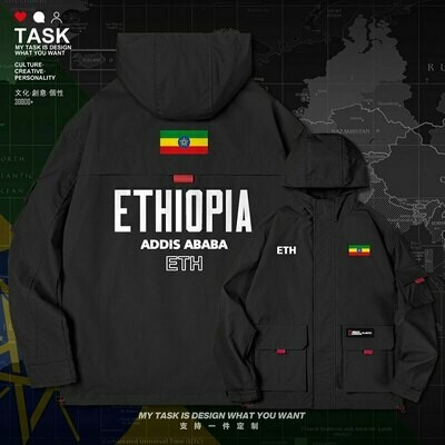 Men's Coat Clothing Ethiopian-Horn Hooded Men Jacket Streetwear Autumn Casual Nation