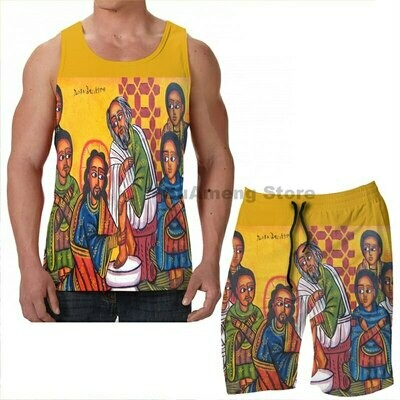 Vest Tank-Tops Christian Washing-Feet Women-Sets Beach-Shorts Fitness Summer Icon Print