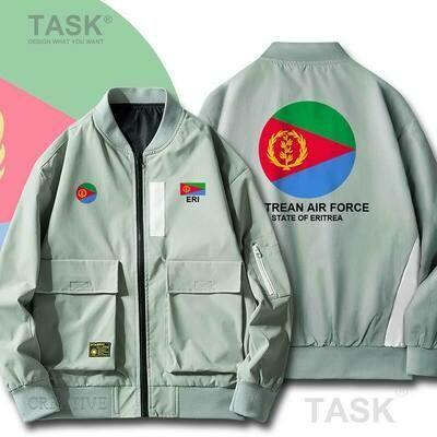 Zipper Jacket Eritrea Air-Force Pilot Coat Bomber Streetwear Military Men's Casual Slim-Fit