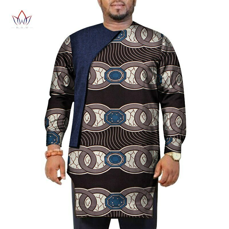 Shirts Blouse Dashiki African-Clothing Patchwork Long-Sleeve Ankara-Style Men Wyn948