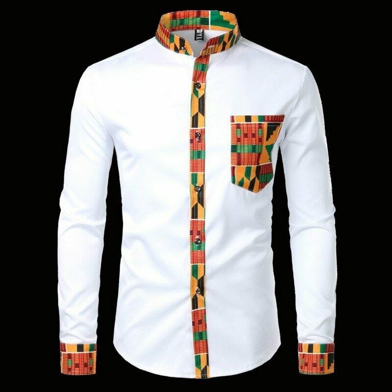 Men Clothing Shirts Camisas Dashiki Mandarin-Collar Tribal Slim-Fit Long-Sleeve Patchwork