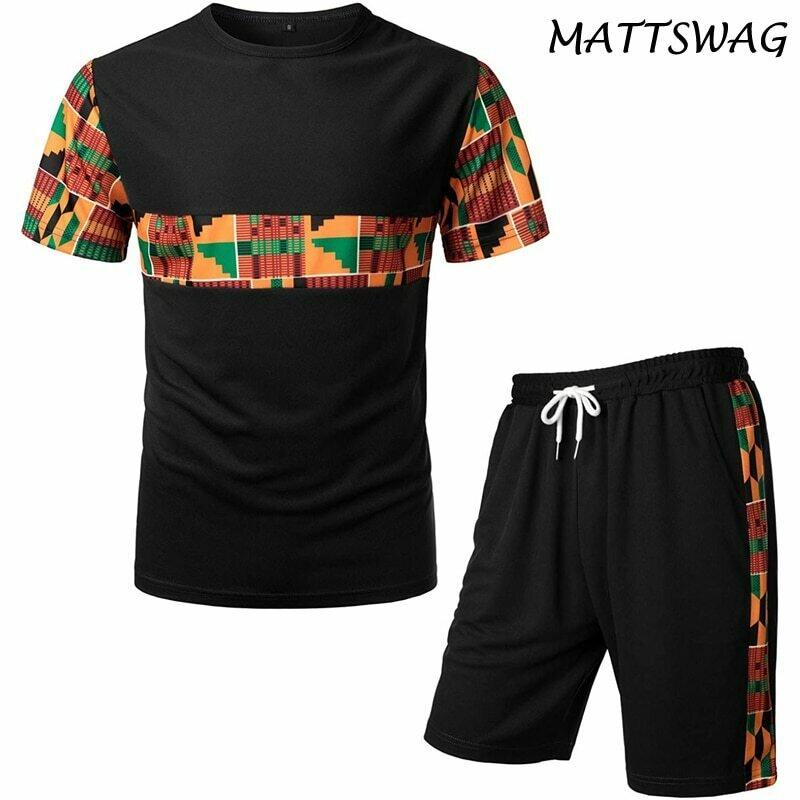 Outfits Men Tracksuit T-Shirt Clothing Short-Sets Dashiki Sports-Mesh African-Pattern