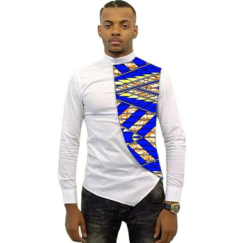 Shirt Patchwork-Shirts Dashiki Tailor-Made Designer African Long-Sleeve White--Wax Ankara