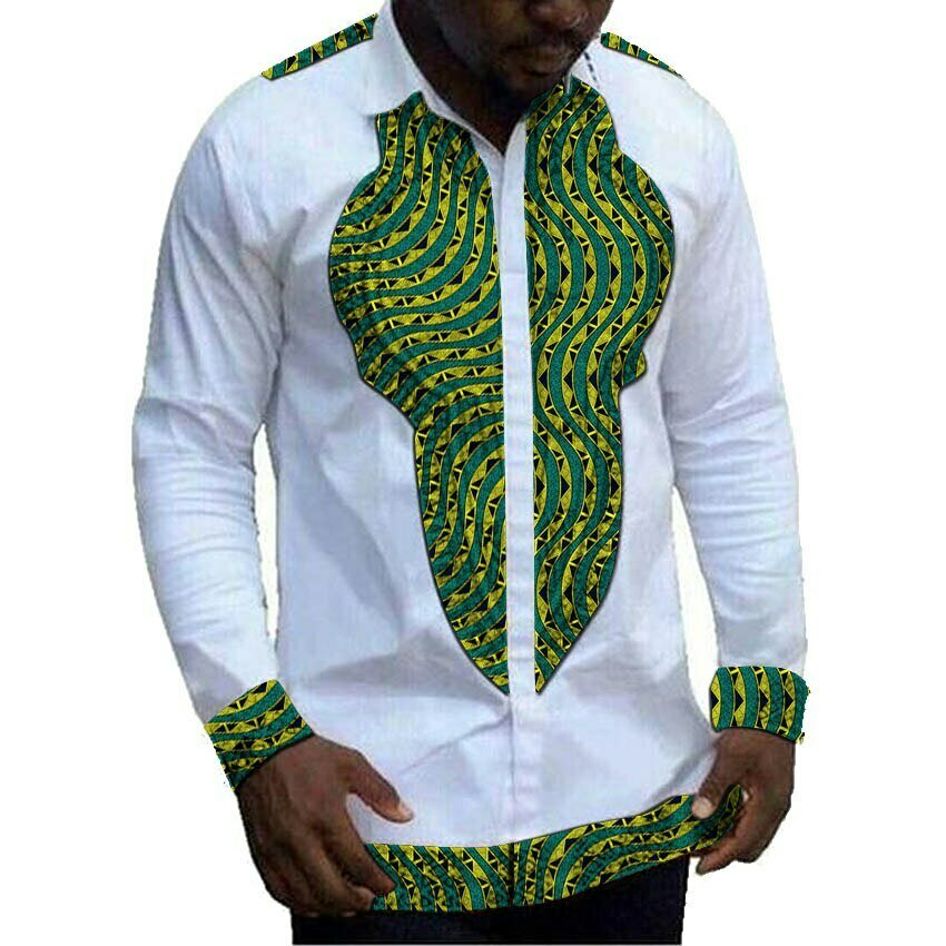 Shirt Dashiki Ankara-Tops African Patchwork Long-Sleeve Print Men's White Collar