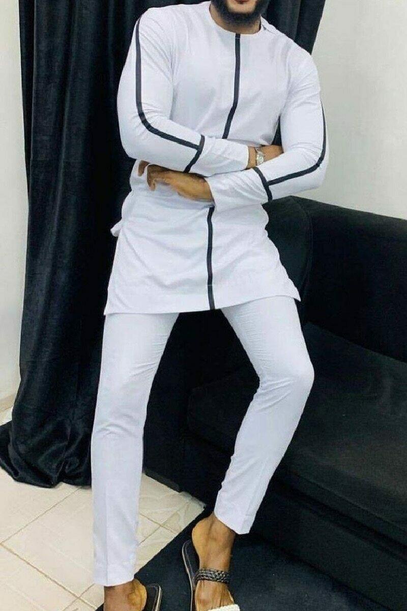 Pant-Sets Dashiki Senator-Style Shirt Waist-Trouser Patchwork Men's Man White Black Mix