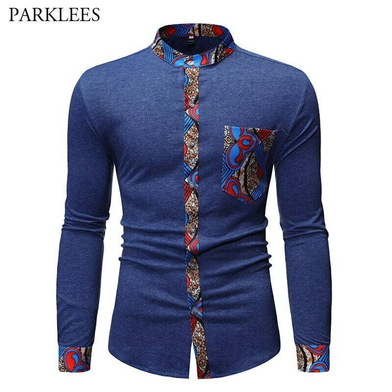 Shirts Mandarin-Collar Dashiki-Print African Chemise Hipster Patchwork Business Long-Sleeve