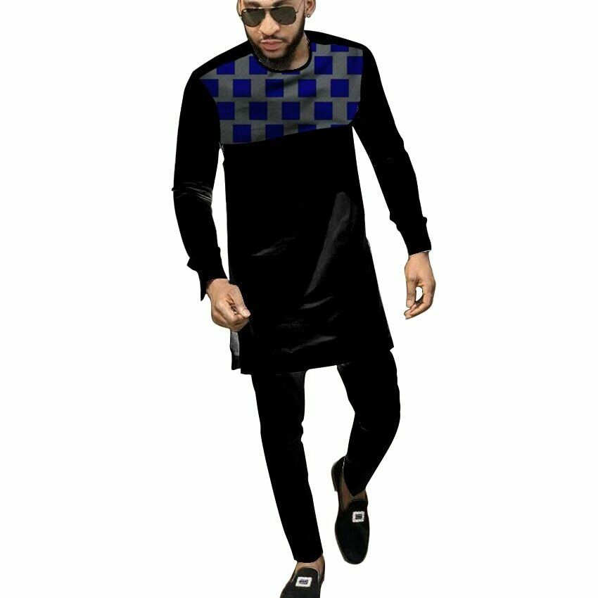 Black African Cothes For Men Dashiki National Man Patchwork Shirt With Solid Long Pant