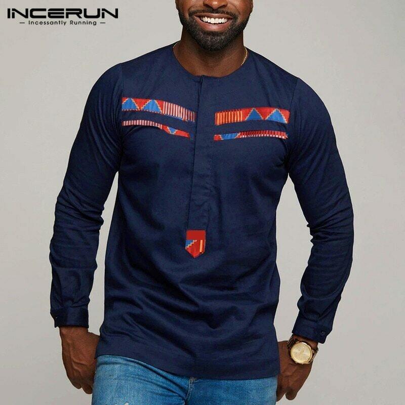 Mens Shirt Dashiki Long-Sleeve INCERUN Tops Camisa Patchwork Streetwear Printed Casual