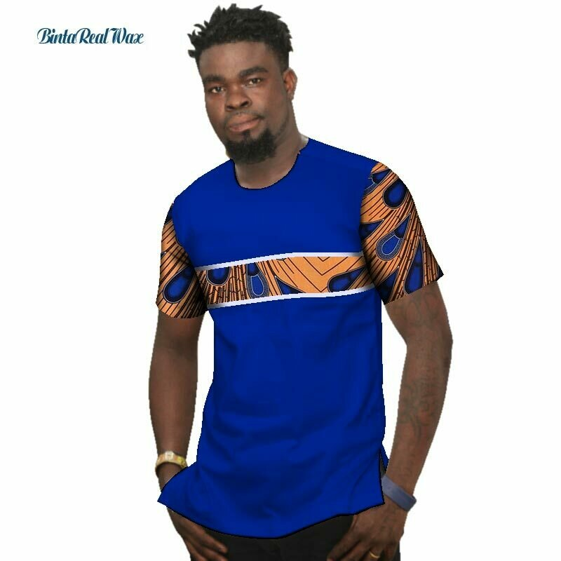 Shirt Dashiki Traditional African-Print Clothing Bazin Patchwork Riche Summer Cotton