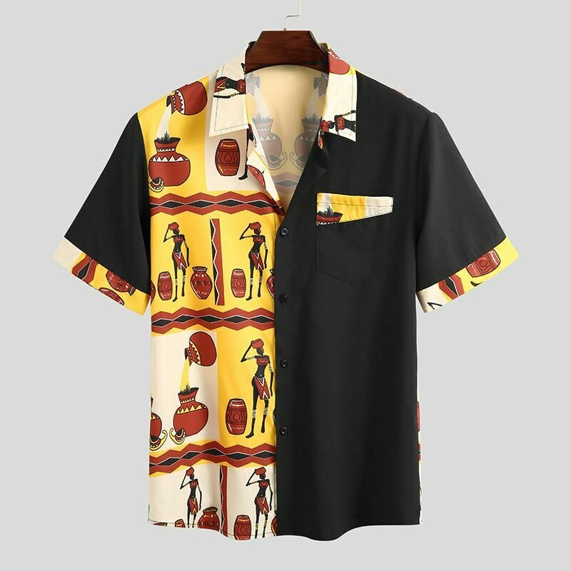 Casual Shirts African-Clothes Incerun Men Camisa Short-Sleeve Dashiki Patchwork Streetwear