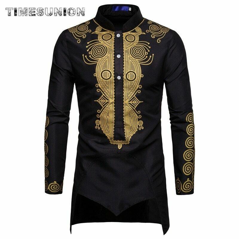 Shirt Men Clothing Long-Pullovers Africa Dress Dashiki Casual Hip-Hop-Robe