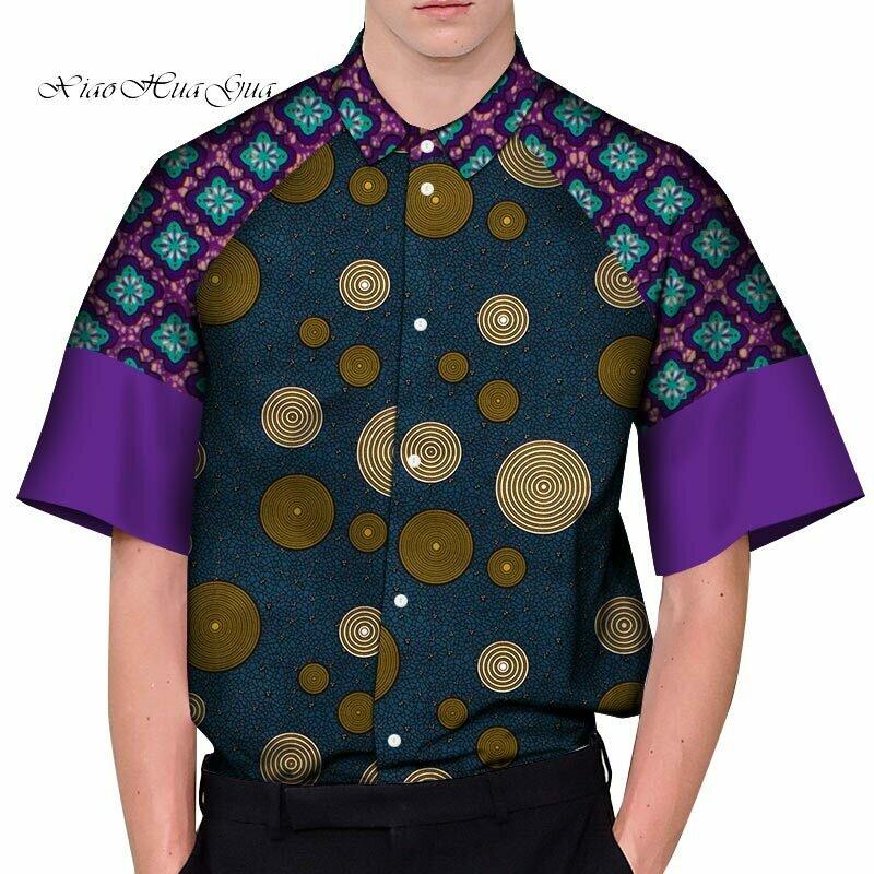 African Shirts Dashiki-Tops Bazin Patchwork Riche Casual Men for Customized WYN1192