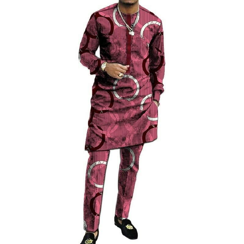 Outfits Shirt Tops Men's Fashion African Patchwork Print Patch-Print-Trouser Wedding