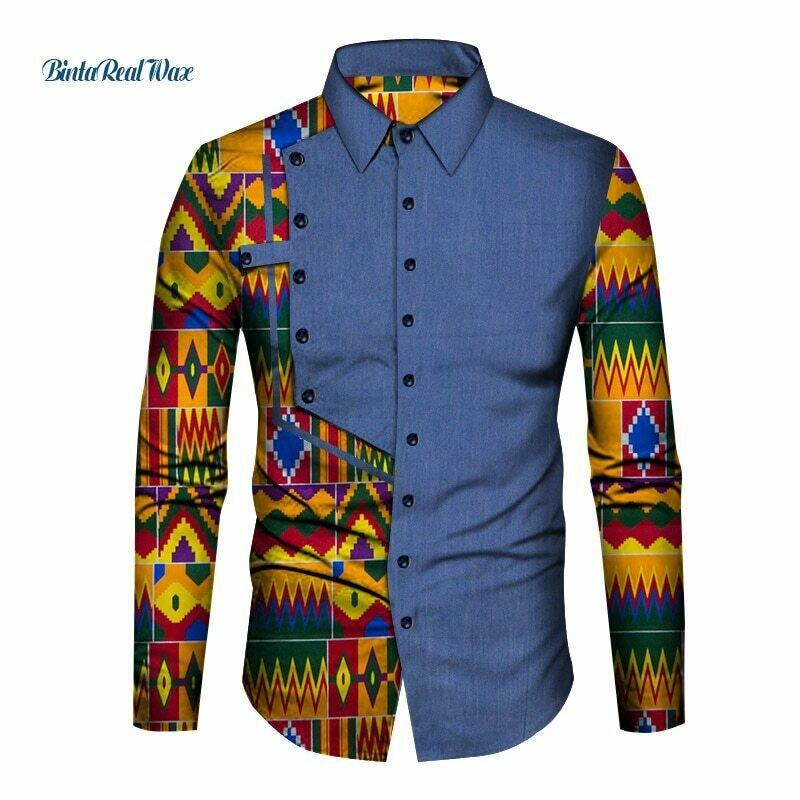 African-Clothing Shirt Dashiki Bazin Patchwork Print Riche Casual Cotton Men WYN1210