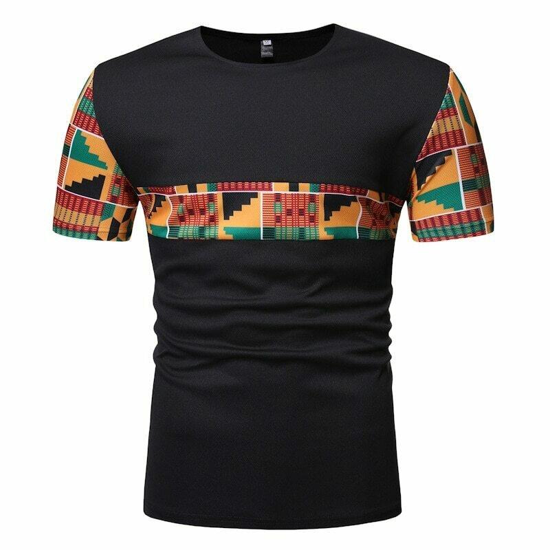 African Dashiki T-Shirt Streetwear Patchwork New XXL Black Summer Casual Men Camisetas