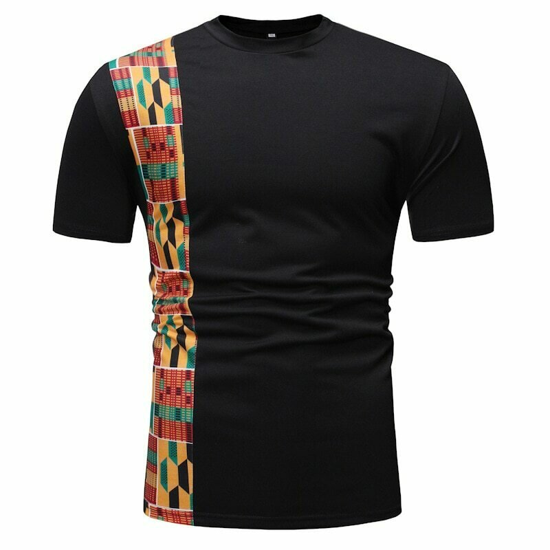 Tee African-Clothes Dashiki-Print Shirt Streetwear Patchwork Black Brand Men Short-Sleeve