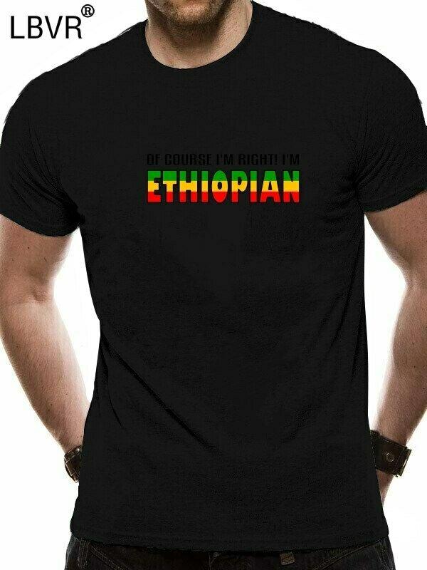 T-SHIRTS Joke Gifts Print Mens Funny NO O-Neck FLAG ETHIOPIAN Slim-Fit SLOGAN NOVELTY