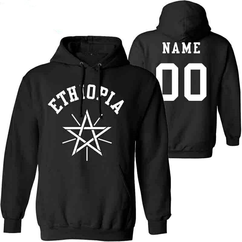Clothing Ethiopian Custom-Made Sweatshirt Male Pullover Flag Number Logo Nation Name