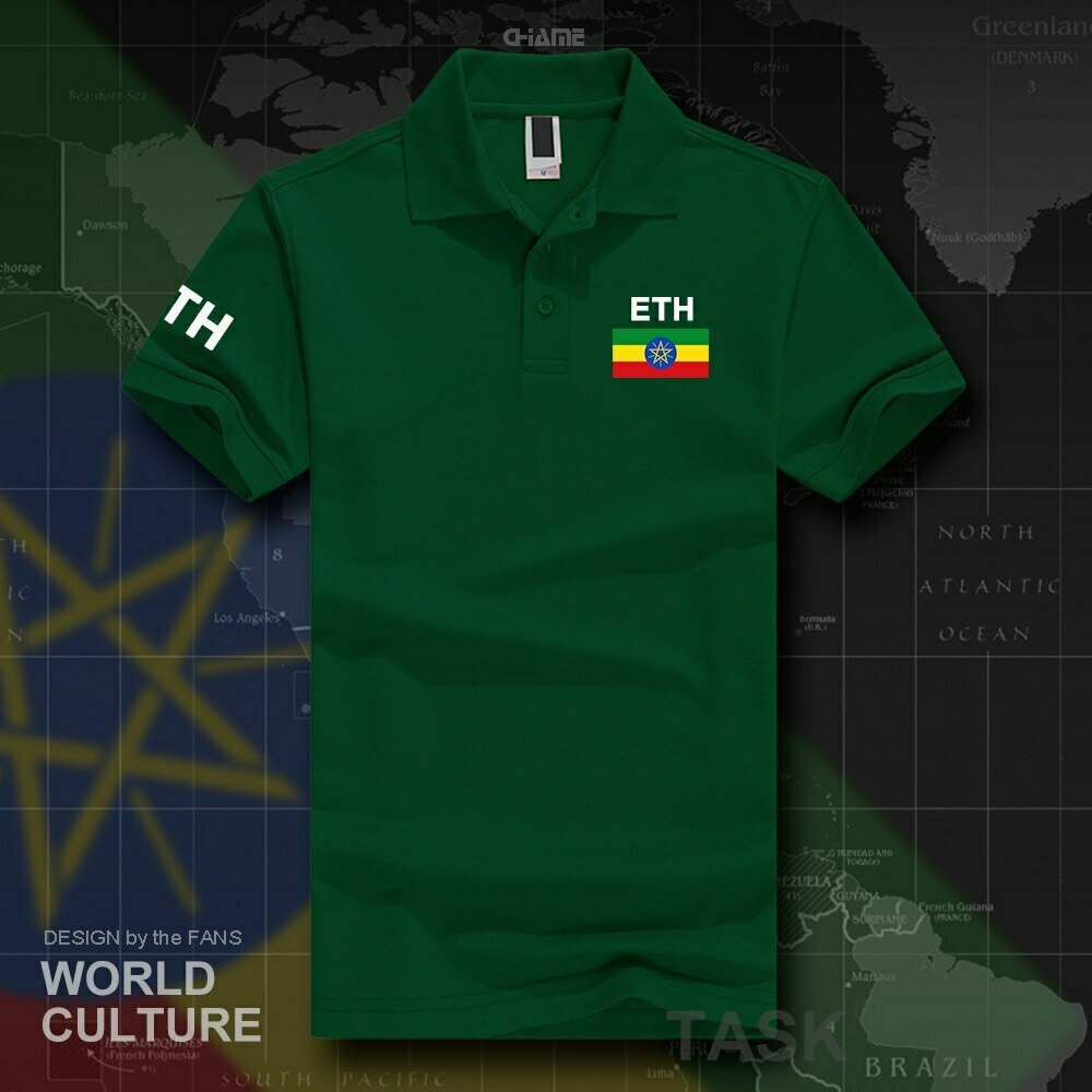 Polo-Shirts Short-Sleeve Cotton Brands-Printed White for Country Team-Horn Ethiopian