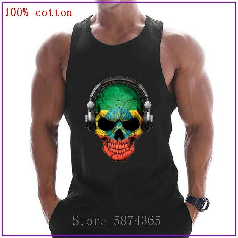 Vest Tank-Top Fashion Mens Sleeveless 100%Cotton with Ethiopian-Flag Breathable Round-Neck