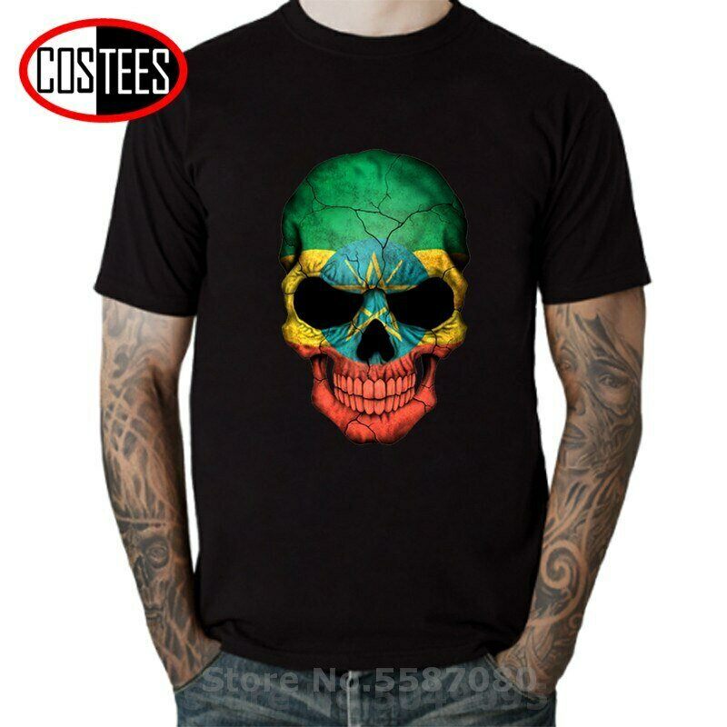 T-Shirt Men Printed Funny Newest 3D Camisetas Ethiopian Flag Sugar Skull Skeleton Vintage