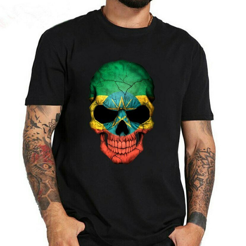 Skull T-Shirt Tees Short-Sleeve Summer Fashion O-Neck Print Tops Ethiopian Flag Halloween