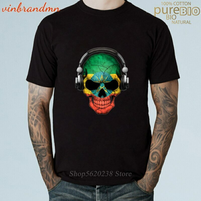 T-Shirts Hipster Graphic Printing Rock-Lover with Ethiopian Flag Harajuku DJ Headphone