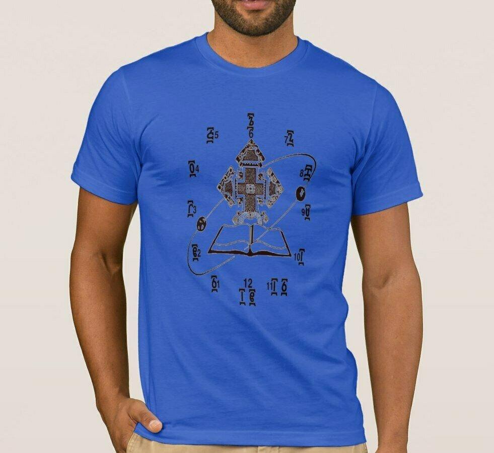 T-Shirt. Short-Sleeve Watch-Design Cotton Summer O-Neck Clock Ethiopian Time Men's Unisex