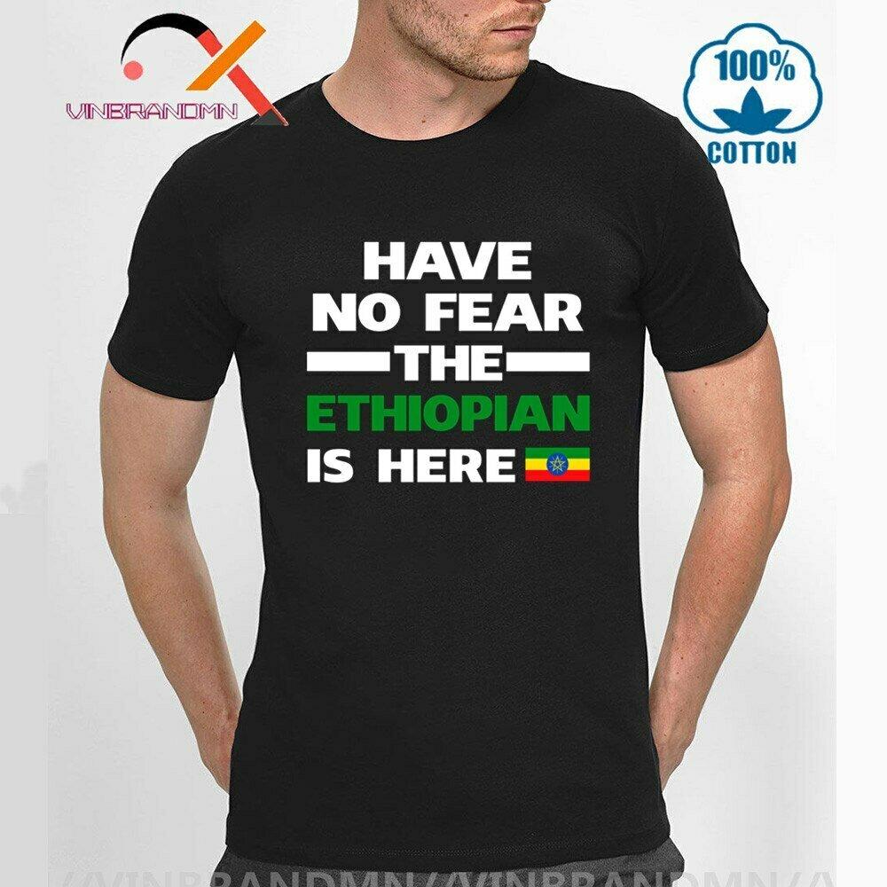 Crewneck Shirt Flag-Print Here Summer Cotton No Ethiopian Country Cool No-Fear The Unique