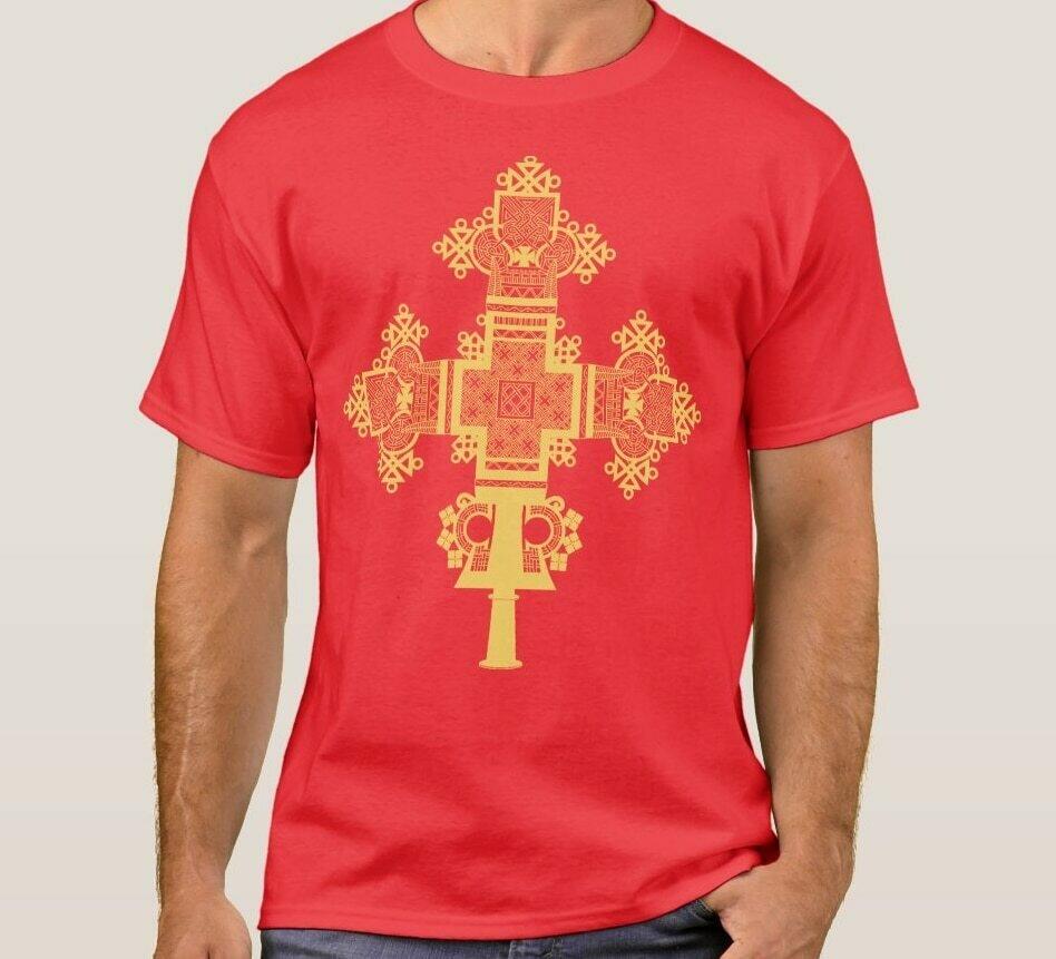 T-Shirt Ethiopian Cross-Fashion-Design Short-Sleeve Cotton Summer O-Neck Casual Men's