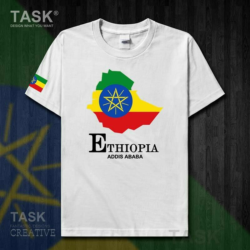 Mens T-Shirt Ethiopian-Horn National Short-Sleeve Africa 50 Tops Map Team-Country of