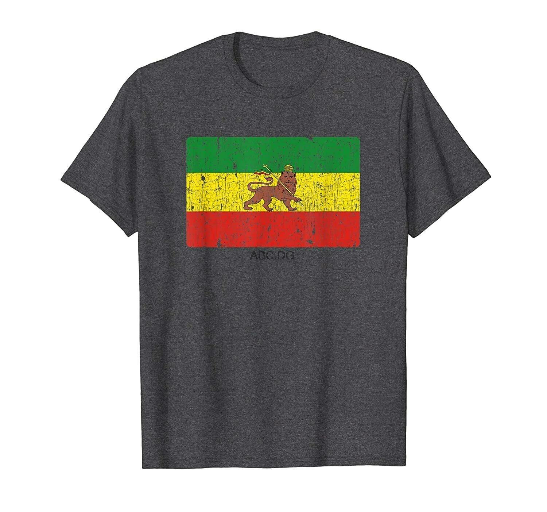 Vintage Rasta Flag Rastafari Ethiopian Lion Rastafarian Gift T-Shirt
