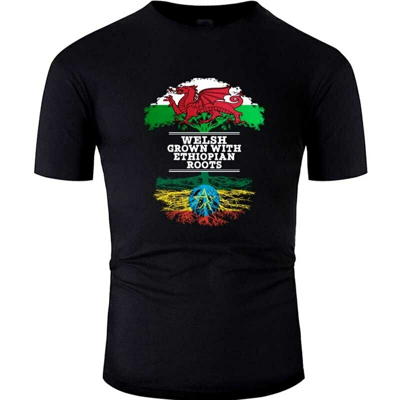 Grown Clothing Ethiopian-Roots Tshirt Male Cotton with Breathable Men Female Hiphop Welsh