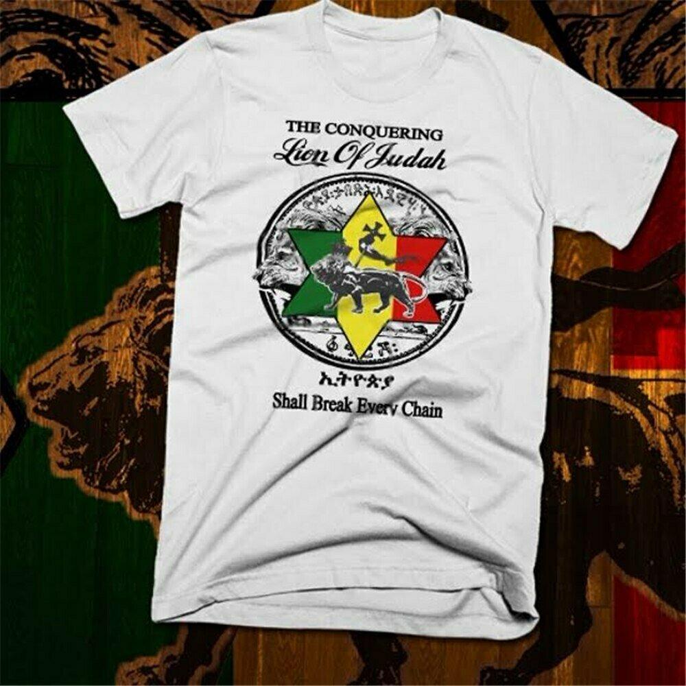 Funny Tee T-Shirt Reggae Jamaican Haile Ethiopian Lion-Of-Judah Rastafari Selassie Unisex