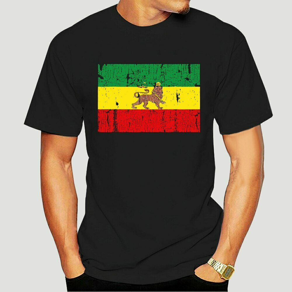 Clothing T-Shirt Ethiopian Flag Short-Sleeve Roots Printed Summer-Style Cotton O-Neck