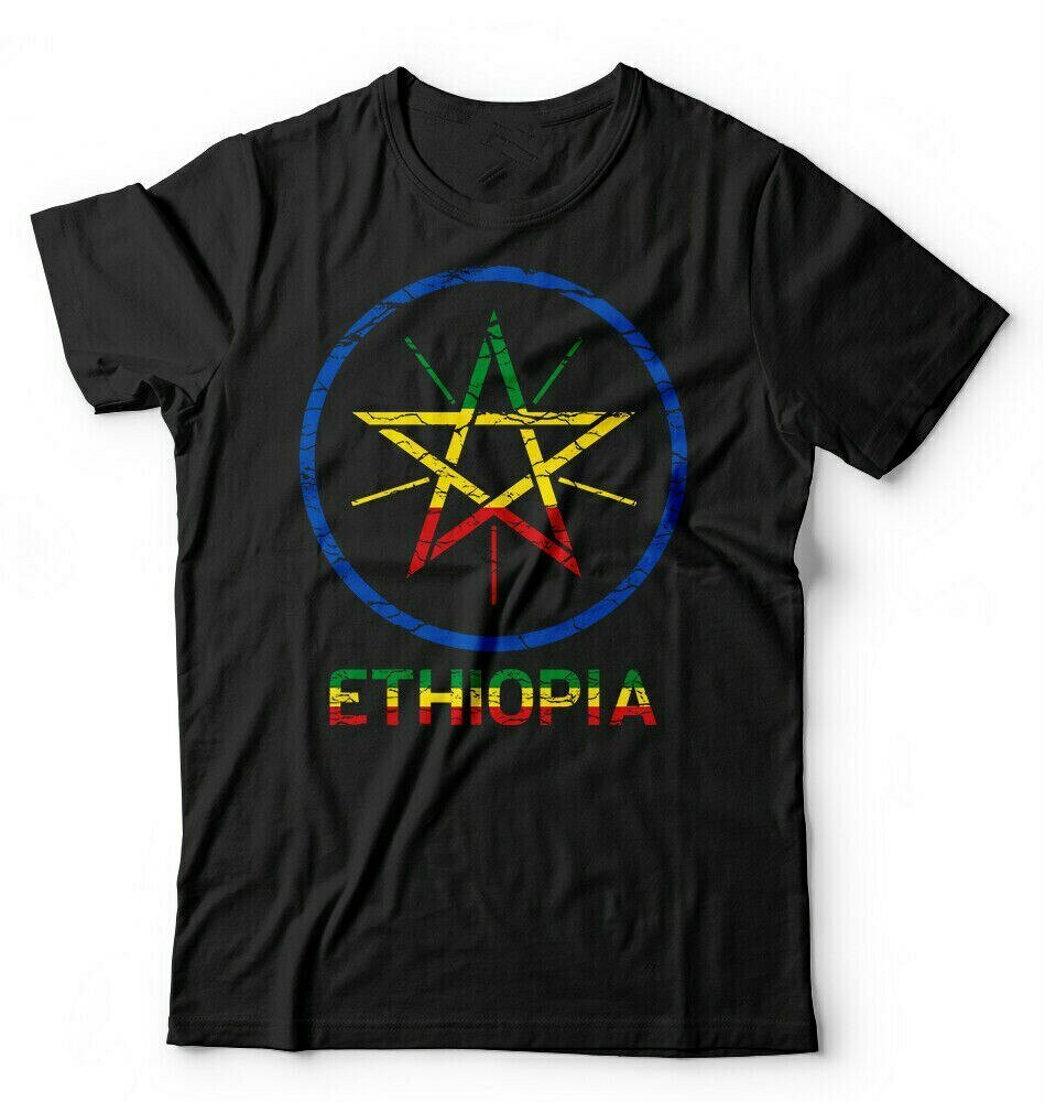 Ethiopian Flag T-Shirt. Short-Sleeve Cotton Summer O-Neck Coat Arms of New S-3XL