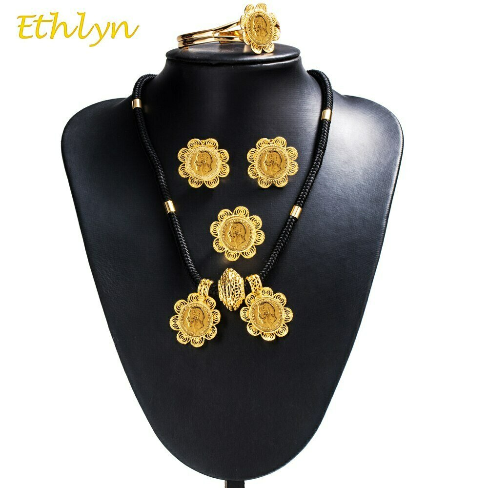 Jewelry-Sets Ethiopian-Coins Gold-Color Ethlyn Wedding-Party-Engagement Women DIY S067
