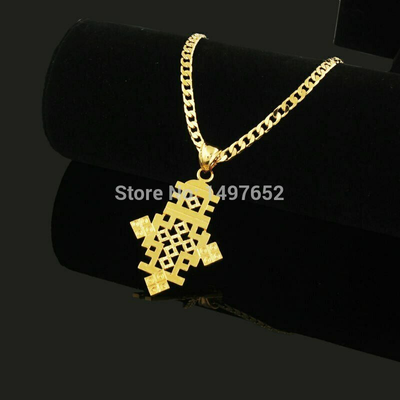Necklace Cross-Pendant Ethiopia-Item Jewelry-Africa Christmas-Gift Gold-Color Men Women