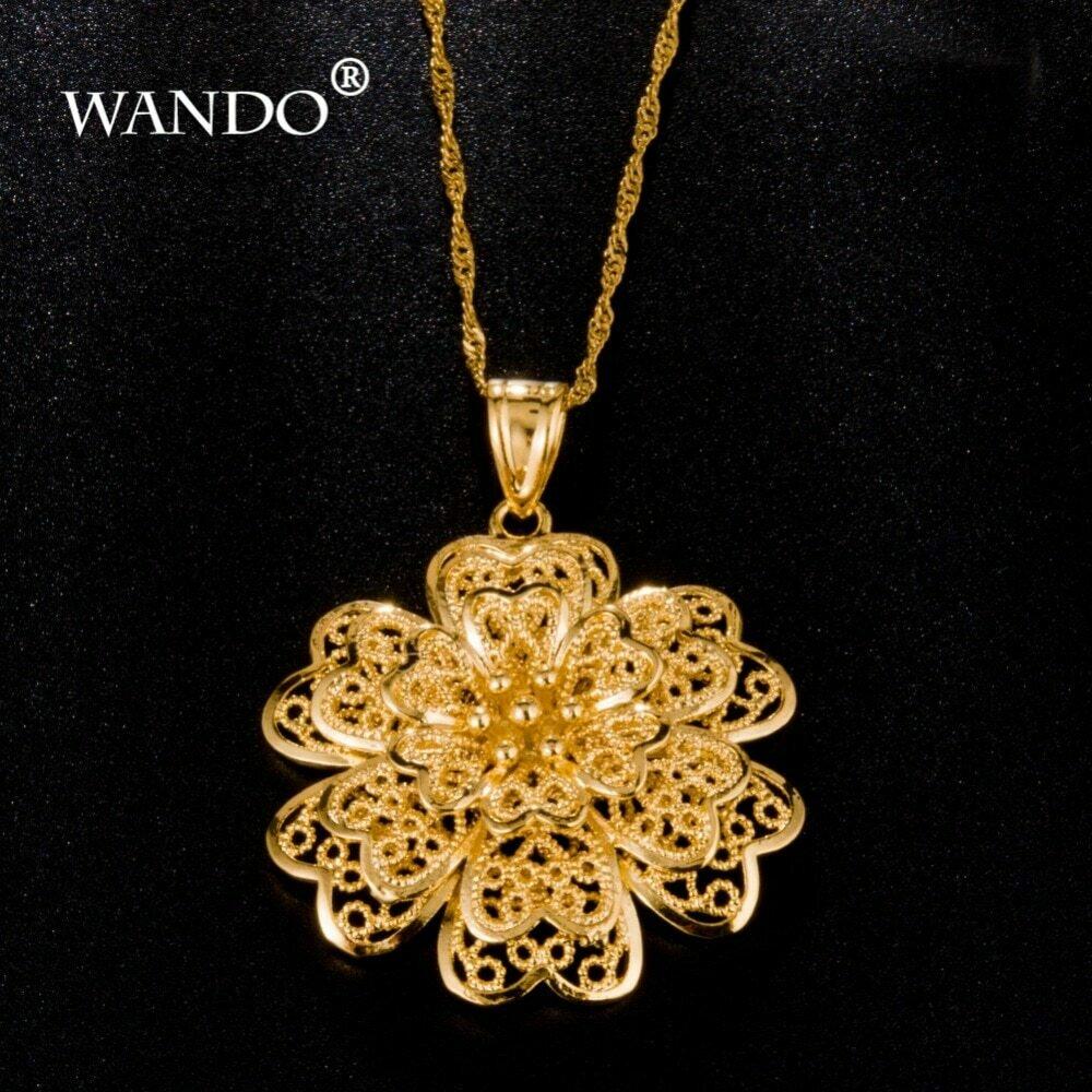 Necklace Flower-Pendant Ethiopian WANDO Jewelry 24k-Gold-Color Women Trendy Gift P8 Girls