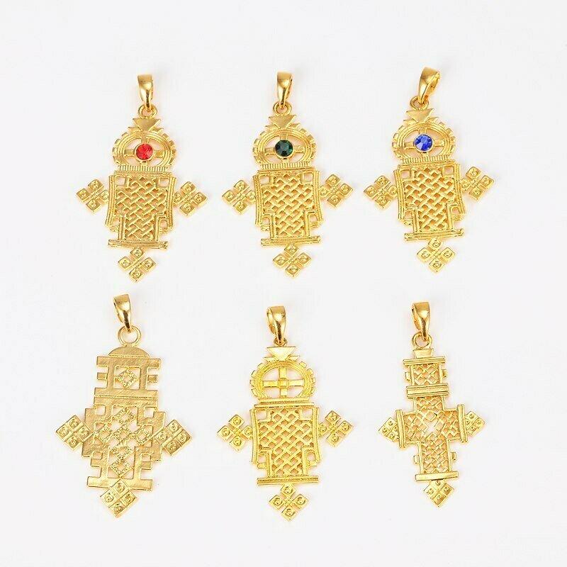 Gold-Cross Pendant Necklace Ethiopian Coptic Jewelry Women Eretrian Abyssinia Girl African