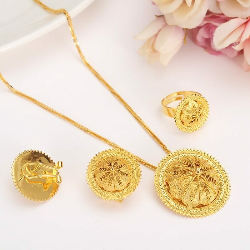 Earrings Jewelry-Set Necklace Habesha Ethiopia Wedding-Party-Gift Gold Women's And