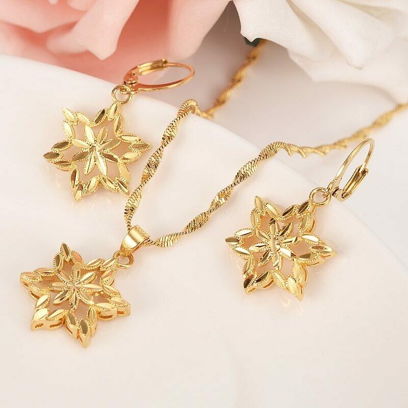 Jewelry Necklace Earring Ethiopian-Set Habesha India Dubai Gold Pendant Flower-African