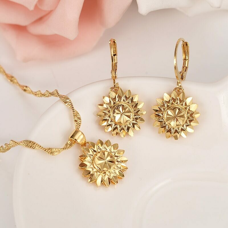 Pendant Jewelry Necklace Ethiopian-Set Earring-Girl Dubai Gold 18-K Flower Yellow Fine
