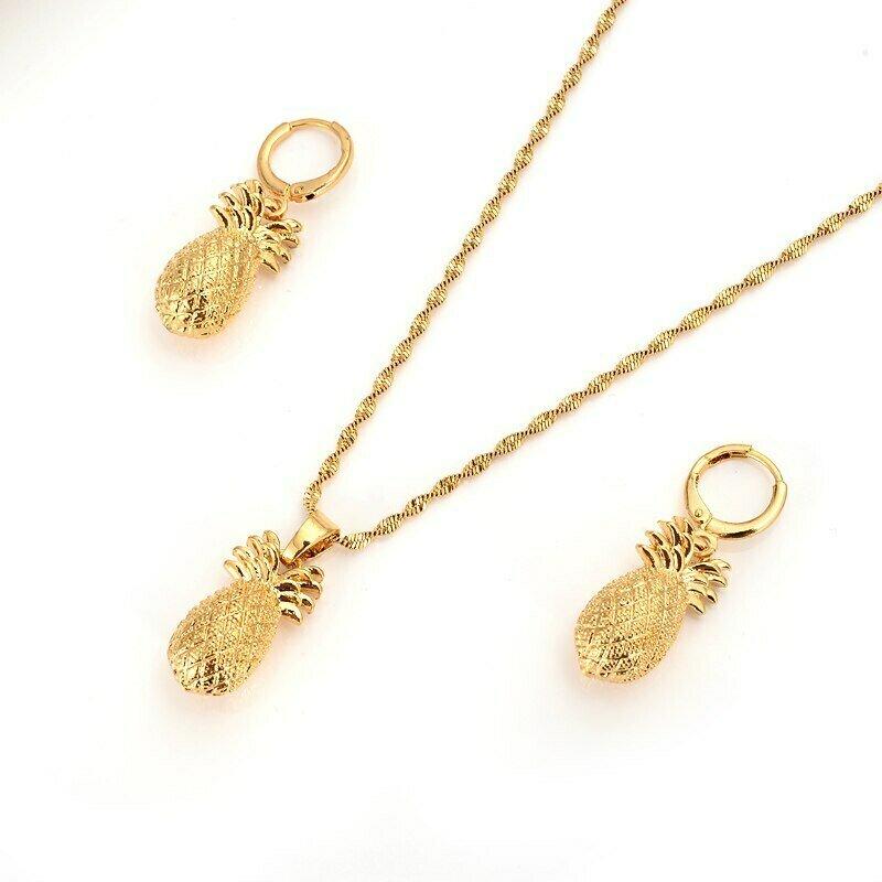 Earrings Ethiopian Jewelry-Pendant-Chain Bijoux Gifts Gold-Color-Set Bride Wedding-Bridal