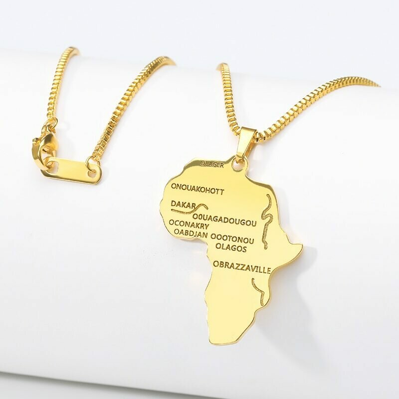 ICFTZWE Africa Map Pendant Necklace For Women Men Gold Color Ethiopian Jewelry Jewelry