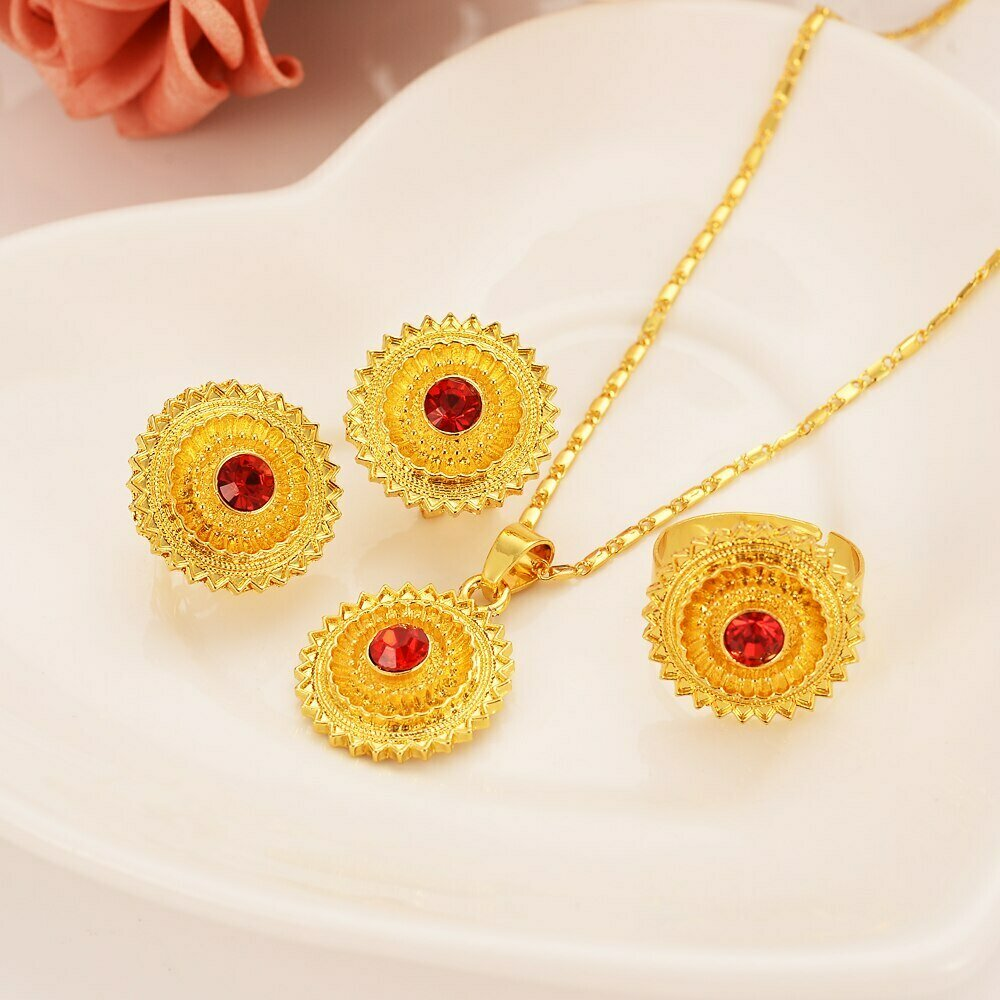 Gold-Color Jewelry-Sets Habesha Ethnic Ethiopian/eritrean African Stone Gifts Bride Wedding-Giving