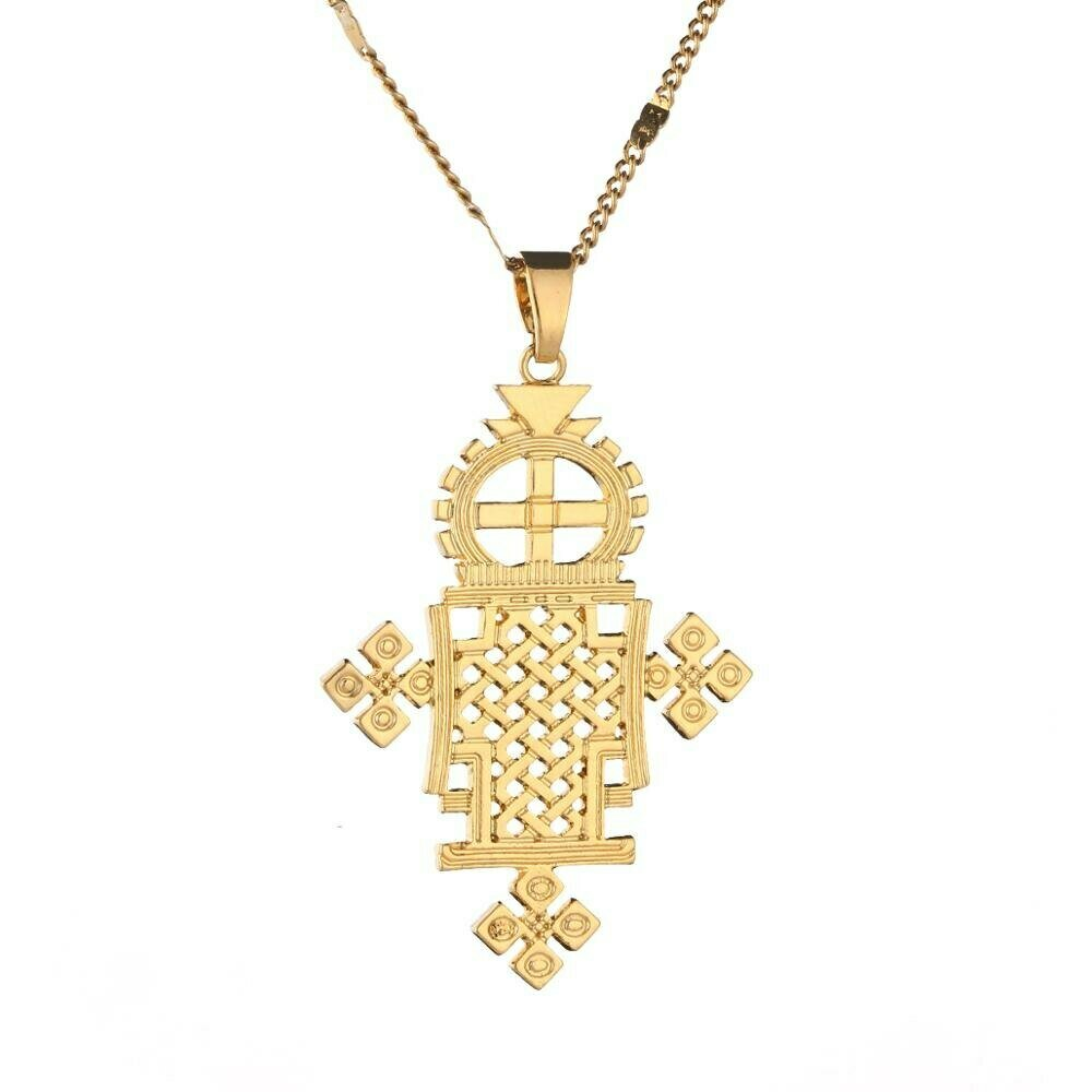 Necklace Ethiopian Coptic Jewelry Cross-Pendant Gold-Color Women Eretrian African