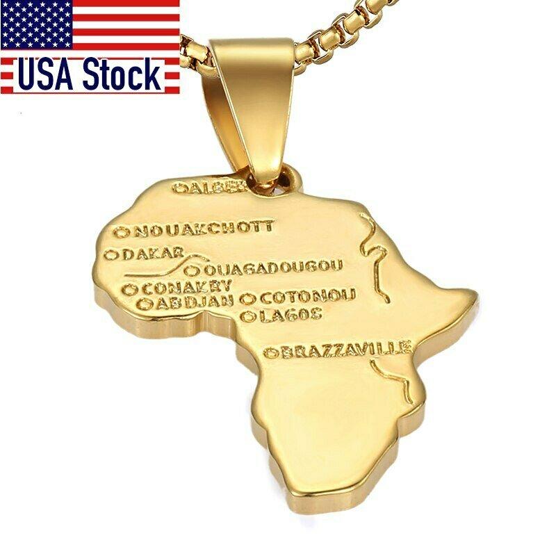 Gold Pendant Ethiopian Africa-Map Necklace For Trendsmax Fashion Women GP56 Hip-Hop