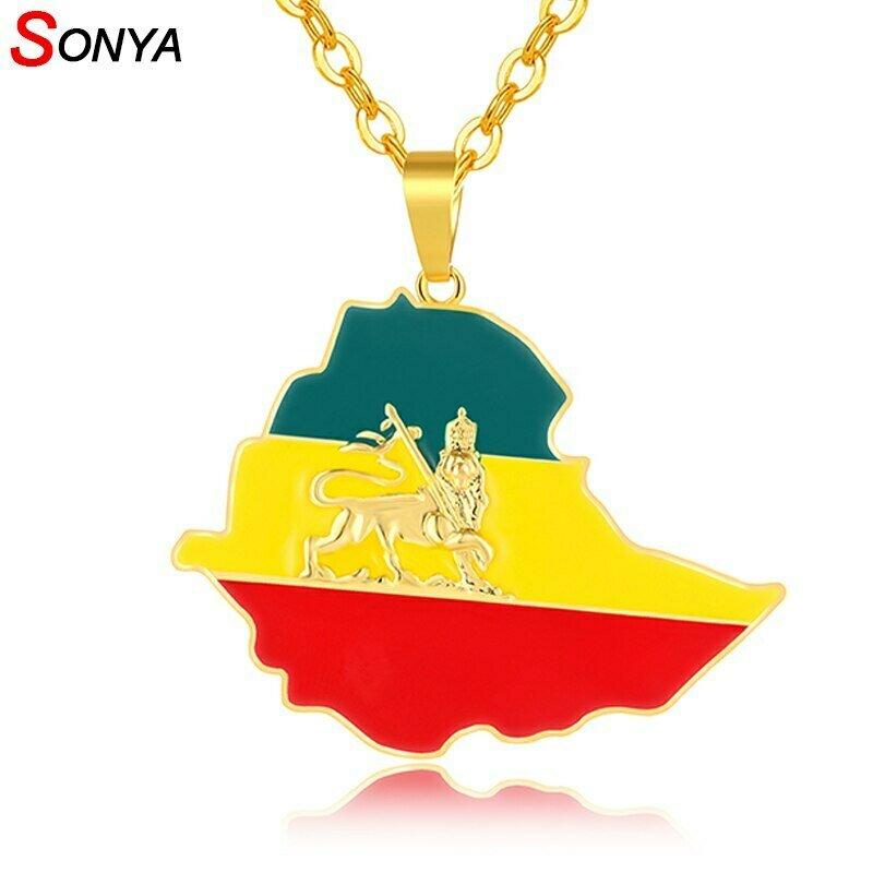 Pendant Necklaces Ethiopian Flag Lion-Map Jewelry Africa Gold-Color Women/men SONYA Bijoux